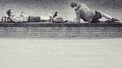 Smartphone break (andzwe) Tags: meppel grachtenfestival smartphone relaxen break boys jongens liggend relaxend blackandwhite zwartwit nederland monochrome gasfabriek