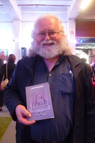 Belgian painter Jan Theuninck visiting Centre d'Art Fantastique in Brussels