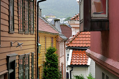 Typical old Bergen - Badstustredet in Marken (Odd Roar Aalborg) Tags: alley roof colour marken badstustredet facade wooden bergen house old window densely urban picturesque