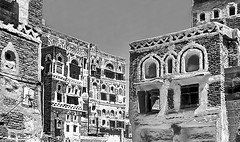 Sana'a ancient architecture (gerard eder) Tags: world travel reise viajes asia middleeast yemen sanaa architecture arquitectura architektur arabia arabiafelix urban urbanlife urbanview blackandwhite blackwhite blancoynegro whiteblack whiteandblack monochrome windows ventanas fenster outdoor oldcity