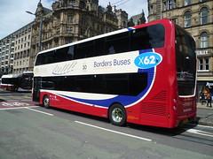 Borders Buses 11902 on Princes Street, Edinburgh (calderwoodroy) Tags: scotland edinburgh princesstreet bus doubledecker bikebus craigofcampbeltown bordersbuses 11902 servicex62 sk19elw adl alexanderdennis enviro400mmc