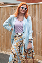 How to Style a Patterned Pleated Midi Skirt in Summer   Not Dressed As Lamb, Over 40 Fashion and Style (Not Dressed As Lamb) Tags: midi skirt pleats pleated summer spring fashion style blogger ootd outfit mixed patterns