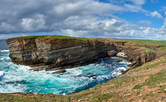 Yesnaby Panorama (Mister Electron) Tags: orkney orkneyislands highlandsandislands scotland landscape nikond800 yesnaby cliffs rocks rocky sea ocean atlantic turquoise waves breakers seascape panorama stitched panoramic wideangle