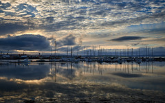 Kirkwall Marina reflections (Mister Electron) Tags: orkney orkneyislands highlandsandislands scotland landscape nikond800 kirkwall marina yachts boats marine reflections evening clouds sky mirror calm serene tranquil tranquility sea wideangle