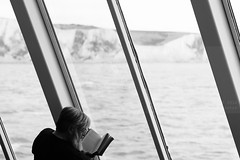 The reader (Elios.k) Tags: horizontal indoors interior boat ferry man beard oneperson people reading book reader atsea window doverstrait dover whitecliffs whitecliffsofdover cliff background dof depthoffield focusonforeground backgroundblur blackandwhite bw mono monochrome travel travelling march 2018 vacation canon camera photography canon5dmkii englishchannel uk england unitedkingdom europe