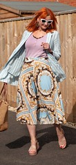 How to Style a Patterned Pleated Midi Skirt in Summer   Not Dressed As Lamb, Over 40 Fashion and Style (Not Dressed As Lamb) Tags: pleats pleated midi skirt fashion style ootd outfit blogger spring summer