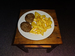 beefburger & chips (Leeber) Tags: stool beef burger chips food