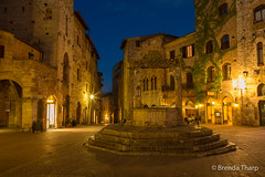 Blue Hour in San Gimignano. (brendatharp) Tags: stone square tuscan cistern medieval romantic italy magical cultural destination dusk architecture nopeople scene tuscany plaza bluehour travel buildings twilight village piazza italian nobody europe mediterranean vacation