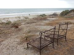 Ironic View of the Coast (mikecogh) Tags: tennyson chairs coast sea metallic dunes