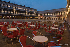 Waiting for Customers (brendatharp) Tags: restaurant city cityscape venetian destination piazza dusk outdoor laserenissima scene tables plaza bluehour travel chairs twilight architecture stmarkssquare iconic nobody europe venice italy urban