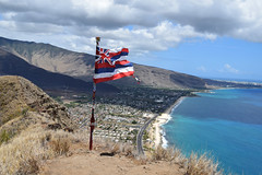 DSC33_27811 (heartinhawaii) Tags: hawaiianflag maili puuohulu landscape mountainscape pillboxhike waianaepillbox waianaehiking waianaemountains westsidepillbox waianae oahu hike hiking westoahu hawaii nikond3300