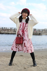 Having Weighed Whether To Wade (emotiroi auranaut) Tags: woman lady model singer actress scenic japan beach water fashion style boots ponytails dress sweater purse cap pretty beauty beautiful lovely nice