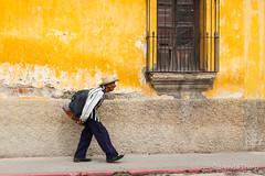 Man walking past yellow wall, Guatemala. (brendatharp) Tags: guatemala clothing antigua centralamerica person walking cultural destination culture man traveldestination latin travel yellowwall guatemalan fineartprint walldecor wallart adventure traditional male