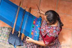 Woman weaving, Guatemala. (brendatharp) Tags: guatemala workshop artisan centralamerica person coop cultural destination weavingcoop backstraploom weaving sanantionoaguascalientes central adventure colorful latin weaver shop woman travel closeup culture weavers traveldestination textiles traditional female