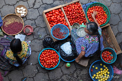 Tomatoes for sale, Chichicastenango. (brendatharp) Tags: guatemala vendors clothing streetscene people cultural destination eggs culture overheadview adventure santiagodeatitlán latin travel tomatoes traveldestination centralamerica women beans market traditional vegetables