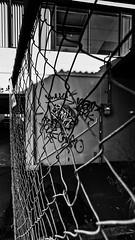 Urban fence (nzcarl) Tags: sony sonya5100 1018mm wide urban monochrome blackandwhite bw