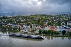 Aschach Austria (Brook-Ward) Tags: hdr brookward aschach austria euorpe danube river gate 1 one travel vacation holiday village town landscape townscape building architecture cruise ship boat church