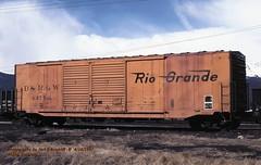 D&RGW 63770, 50' box, Malta, CO. 4-18-1997 (jackdk) Tags: train railroad railway railroadcar freightcar 50 50footbox boxcar fallenflag riogrande drgw denverandriograndewestern malta maltacolorado doubledoor doubledoorboxcar