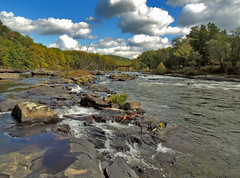 River from the Rocks (George Neat) Tags: clouds sky scenic landscapes ohiopyle scenery fayette county pa pennsylvania georgeneat neatroadtrips patriotportraits state park laurelhighlands water yough youghiogheny river rapids ferncliff trail gap greatalleghenypassage nature outside