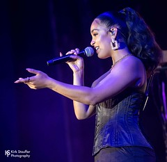 Jorja Smith @ WaMu Theater (Kirk Stauffer) Tags: cute beautiful beauty wonderful amazing glamour nikon perfect pretty photographer sweet feminine gorgeous awesome goddess adorable precious attractive stunning lovely charming fabulous darling siren kirk petite d5 stauffer glamorous lovable show lighting blue red portrait musician music woman brown white english girl smile smiling fashion lady female hair lights photo concert model eyes women long tour live teeth gig group young band style lips short singer indie corset tall ponytail brunette cleavage performer vocals bustier