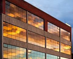 Sunset in office windows (andii1701) Tags: sunset office windows reflection grid building melbourne richmond backstreets clouds
