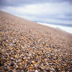 Chesil Beach 1 horiz levels size 6 6 (ed_rickh) Tags: yashica 635 yashica635 oldfujivevia50 velvia50 velvia chesilbeach film positivefilm