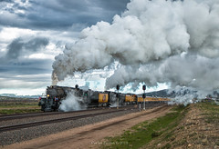 Makin' Some Weather (Wheelnrail) Tags: up union pacific train trains locomotive big boy 4014 up4014 844 4884 steam rail road railroad rails excursion laramie subdivision rural rawlins signal signals clouds