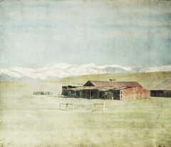 empty stalls (jssteak) Tags: canon colorado farm rural mountains red barn morning aged fade ontheway