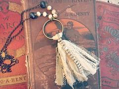 Lace Tassel Necklace - Boho Tassel Necklace - Bohemian Jewelry - Statement Necklace - Recycled Jewelry by PrimitiveFringe (Primitive Fringe) Tags: upcycled clothing boho shabby chic handmade etsy mori girl