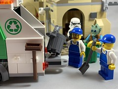 2019-168 - Garbageman Day (Steve Schar) Tags: wisconsin lego iphone minifigure 2019 sunprairie project365 iphonexs garbage trashcans garbagecans cantina greedo garbagetruck garbagemanday stormtrooper starwars