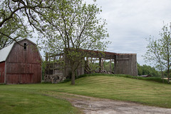 And then it was gone... (marylea) Tags: may26 2019 rural decay ruraldecay washtenawcounty dextertownship farm barn redbarn endings passings roofless barnfalling michigan