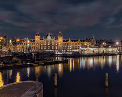 Grand Central Station (lsoaadi) Tags: cityscape city night lights reflections wood water canal river clouds light lighttrails cafe train trainstation blue longexposure amsterdam orange buildings downtown bricks