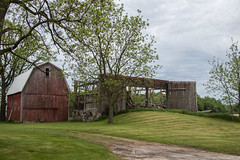 Passings. (marylea) Tags: may26 2019 rural decay ruraldecay washtenawcounty dextertownship farm barn redbarn endings passings roofless barnfalling michigan