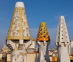 Palau Güell (Douguerreotype) Tags: palace city chimney barcelona buildings tiles urban gaudi spain catalunya roof architecture