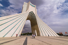 Azadi Tower (Ash and Debris) Tags: view lines arch iran azadi azaditower tower people monument city tehran urban sky architecture clouds