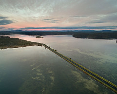 Causeway (OzzRod) Tags: dji phantom3advanced drone quadcopter aerial oblique sunrise estuary lake wallagalake nswfarsouthcoast stitch panorama