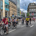 Critical Mass Participants near Schildergasse in Cologne, Germany,  draw attention to bicycle traffic in big city