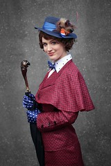 Mary Poppins cosplayer at ExCeL London's MCM Comic Con, May 2019 (Gordon.A) Tags: london docklands excel excellondonexhibitioncentre mcm moviecomicmedia comic con convention mcm2019 may 2019 festival event creative costume hat design style lifestyle culture subculture mary poppins disney character cosplay cosplayer pretty lady woman people face model pose posed posing outdoor outdoors outside wall naturallight colour colours color colors amateur portrait portraiture photography digital canon eos 750d sigma sigma50100mmf18dc