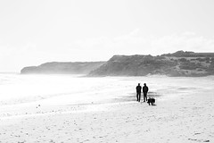 Morning Walk (Anthony Kernich Photo) Tags: adelaide southaustralia sa australia willunga portwillunga beach sea shore ocean coast seascape water sand highcontrast day morning winter people person life silhouette abstract different overexposure overexposed simple minimalist olympusem10 olympus olympusomd monochrome blackandwhite blackwhite bw unconventional flickr outdoor highkey landscape