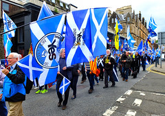 Scotland West Highlands Argyll the Oban Scottish Independence march flags everywhere 15 June 2019 by Anne MacKay (Anne MacKay images of interest & wonder) Tags: scotland west highlands argyll oban scottish independence march marchers flags street people auob indyref2 15 june 2019 picture by anne mackay