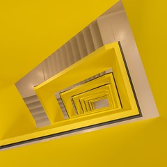 The Square Lemon (bjoernahrensfotografie) Tags: munich münchen architecture architektur lookup lookdown minimal abstract spiral staircase stairs treppe treppenhaus escalier yellow gelb canon canoneosr