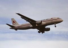 TC-ONB A320 Onur air LHR 19-06-93 (cvtperson) Tags: tconb a320 onur air london heathrow lhr egll