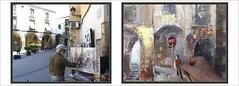 OLESA DE MONTSERRAT-PINTURA-FOTOS-PINTANDO-PLAÇA DE LES FONTS-CARRER DE L'ESGLESIA-ARQUITECTURA-MEDIEVAL-PORXOS-ARTISTA-PINTOR-ERNEST DESCALS (Ernest Descals) Tags: olesademontserrat arcs arc voltes porxos porxada patrimoniarquitectonic plaçadelesfonts carrerdelesglesia medieval paisaje paisajes medievales historia historicos temas casas antiguas piedra pintar pintando pintant fotos paint pictures baixllobregat barcelona pueblos ciutats city village ciutat catalunya catalonia cataluña arquitectura pintura pintures pinturas cuadro cuadros quadres paisatge paisatges paisajeurbano urban people movimiento calidades plasticas plastica artwork art arte pintor pintores pintors painter painters painting paintings airelibre pleinair luz mañana luces light conjunto arquitectonico plaza calles ernestdescals lienzos artista artistes