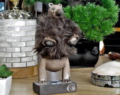 Bear in a Furry Sweater. (ManOfYorkshire) Tags: oneoff special black clay ceramic gwenvaughan sculpture sweater cashmere crewcut decoration artist harley gallery coffetable ondisplay purchase piece bear amusing inspired