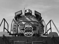 4006 (Adventurer Dustin Holmes) Tags: 4006 bigboy 4884 locomotive train railroad vehicle front steam unionpacific americanlocomotive museumoftransportation stlouis outdoor missouri x4006 bell rails blackandwhite blackwhite photo photograph picture choochoo headlight