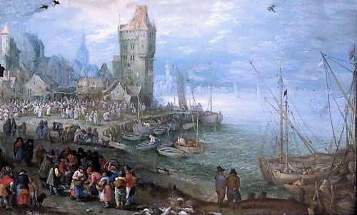 IMG_1210 Jan Brueghel I 1568-1625 Anvers Marché aux poissons sur le bord de mer  Fischmarkt am Meeresstrand  Fish market on the sea beachvers 1610 Schwerin.Staatliches Museum