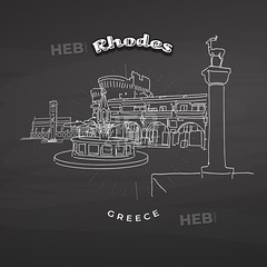 Rhodes Greece landmarks on blackboard (Hebstreits) Tags: architecture background black blackboard boat building chalk chalkboard city cityscape colossus column dearstatues deer destination eafos elafnia entrance europe facade famous greece greek harbor icon illustration island isolated knights landmark landscape line medieval naxos old oldport outline palace panorama rhodes silhouette symbol temple tips tourism tower town travel vacation vector