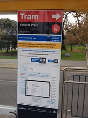 Tram stop sign and map at Festival Plaza tram stop, Adelaide (philip.mallis) Tags: adelaide tramstop sign tramsign map