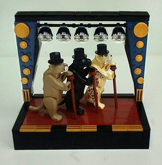 Cats in Hats (LegoHobbitFan) Tags: lego moc build creation model cat top hat cane stage panther puma black leopard cheetah mountain lion cougar big curtains brown lights wood floor gold