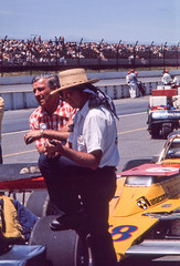 Clint Brawner in a pre-race discussion (brooklandsspeedway) Tags: poconoraceway pocono pennsylvania indycar